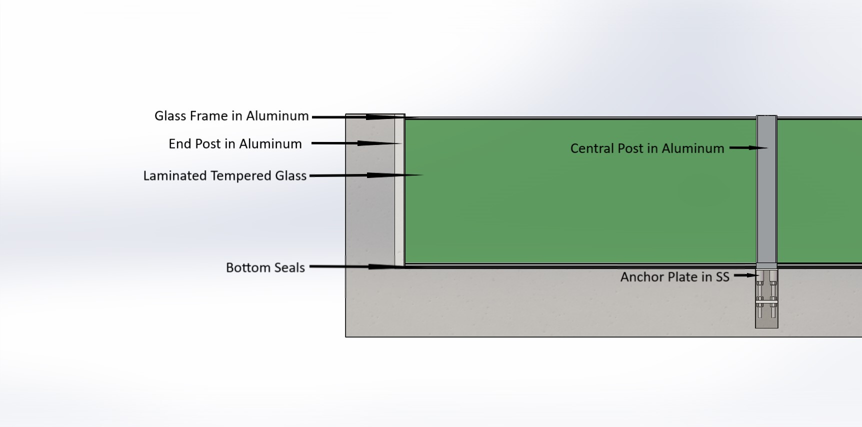 Structure of Glass Wall Flood Barrier